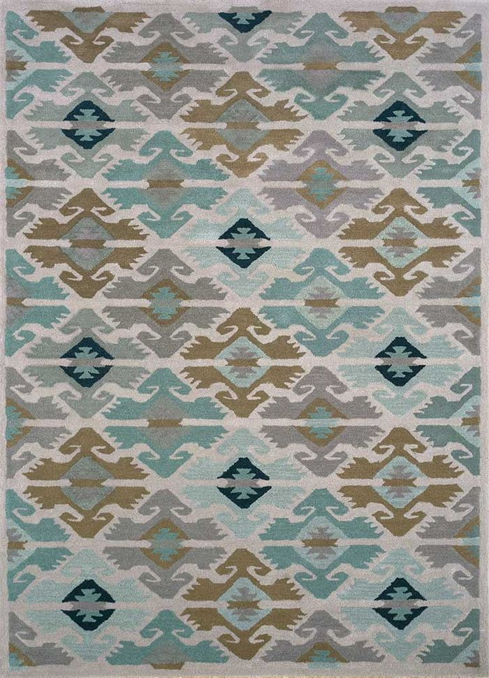 mythos beige and brown wool and viscose hand tufted Rug - HeadShot