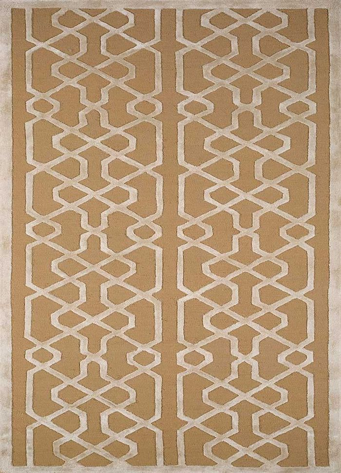 contour beige and brown wool and bamboo silk hand tufted Rug - HeadShot