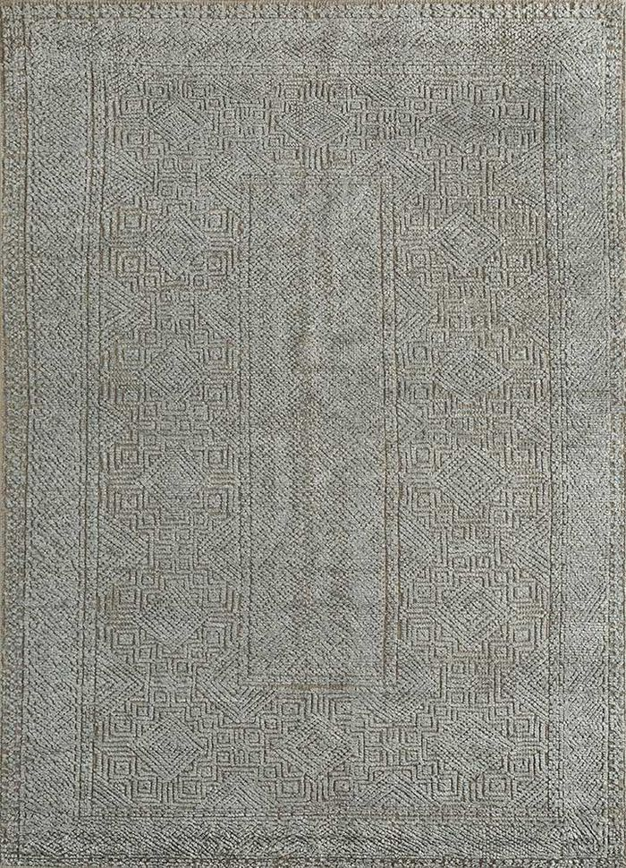 revolution blue wool and bamboo silk hand knotted Rug - HeadShot