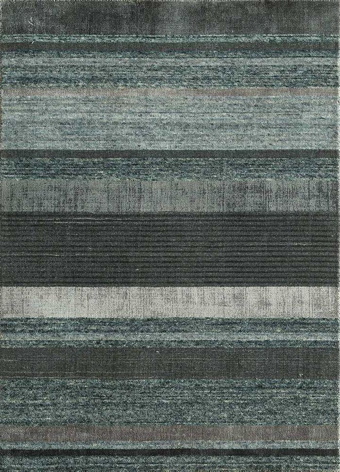 aprezo blue wool and bamboo silk hand loom Rug - HeadShot