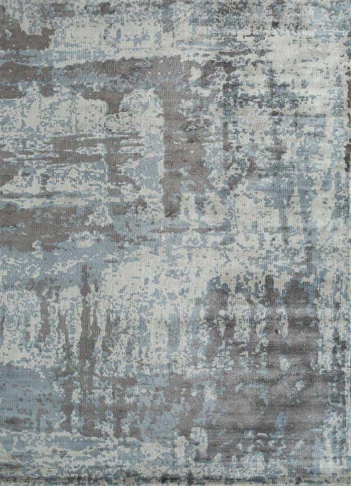 acar grey and black bamboo silk hand loom Rug - HeadShot
