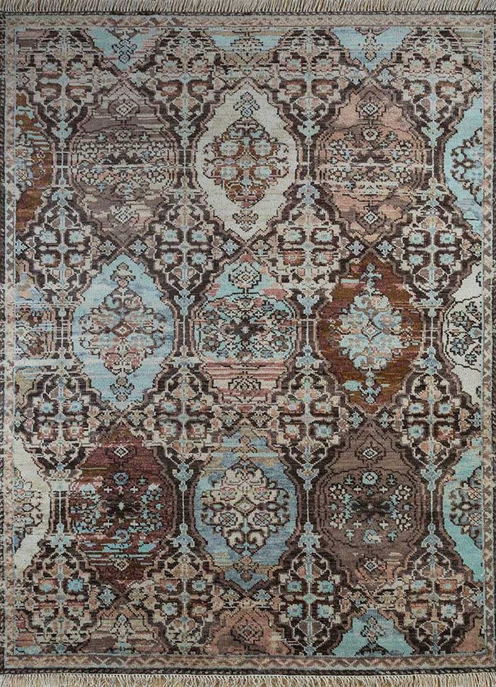 floret beige and brown wool hand knotted Rug - HeadShot