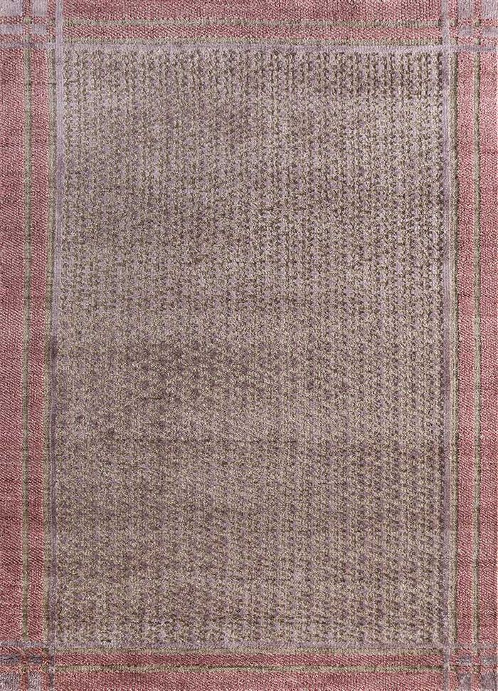 esme beige and brown wool and bamboo silk hand knotted Rug - HeadShot