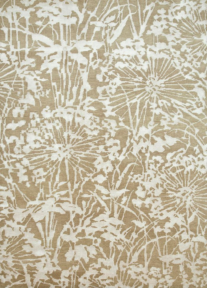 pansy beige and brown wool and bamboo silk hand knotted Rug - HeadShot