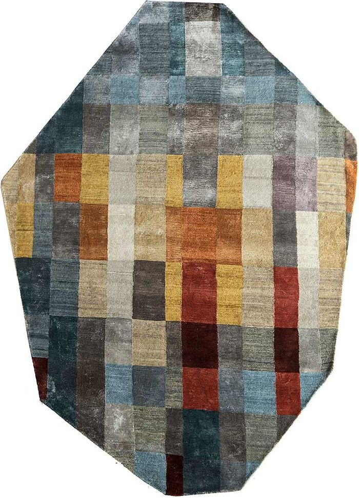 aakar by kavi grey and black wool and viscose hand knotted Rug - HeadShot