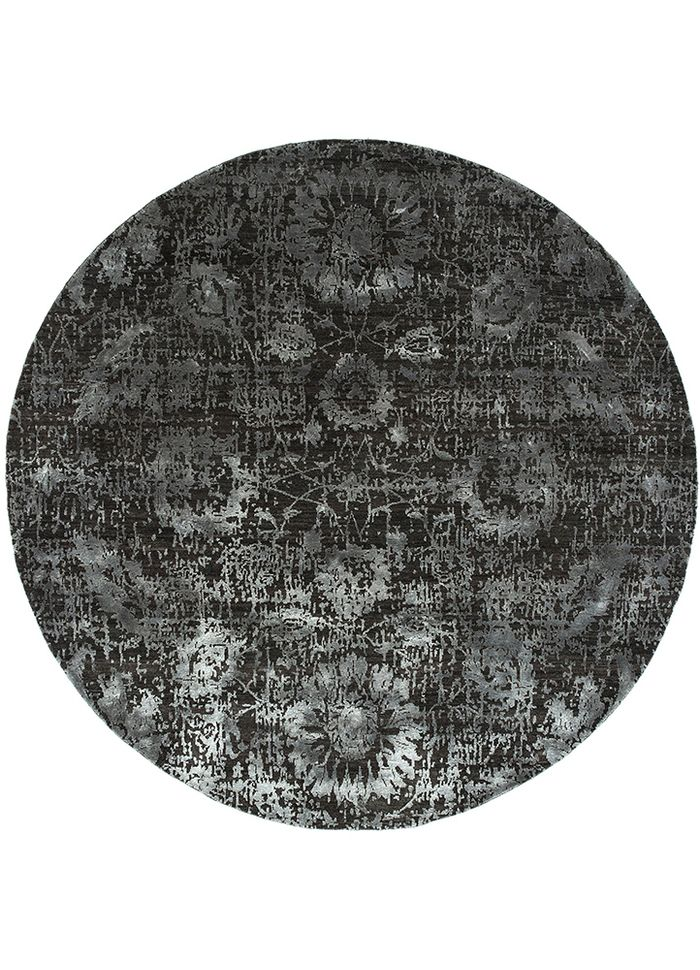 chaos theory by kavi grey and black wool and bamboo silk hand knotted Rug - HeadShot
