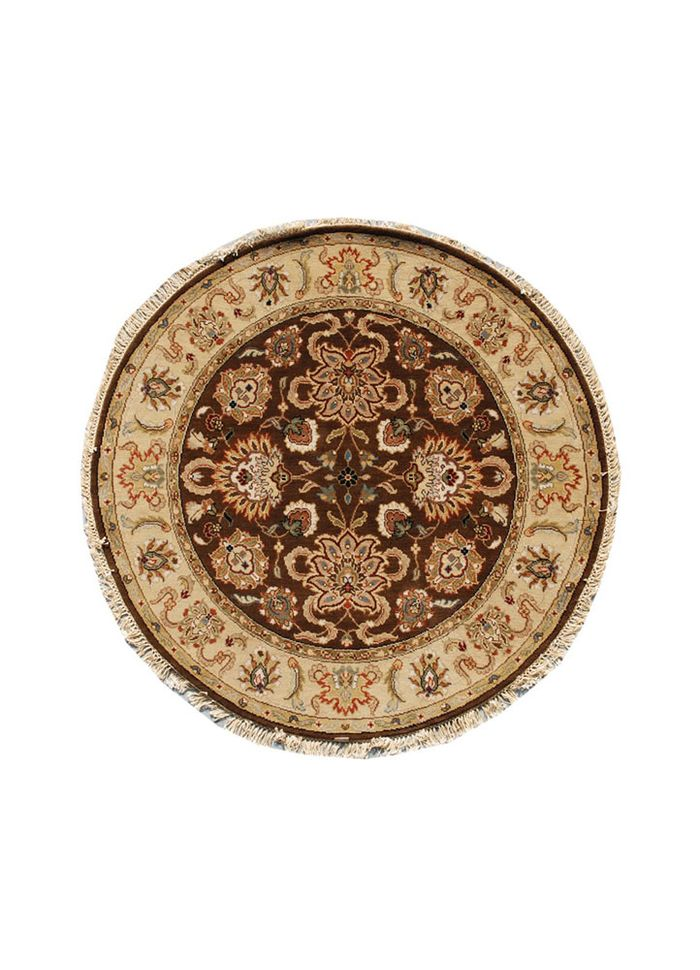 atlantis beige and brown wool hand knotted Rug - HeadShot