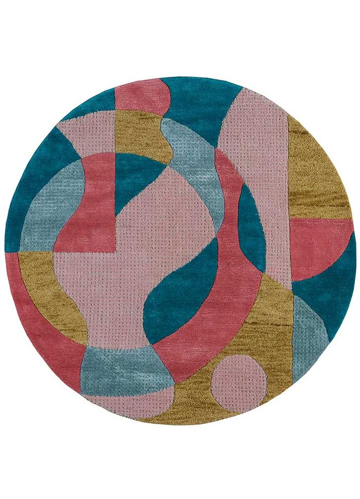 come around pink and purple wool and viscose hand tufted Rug - HeadShot