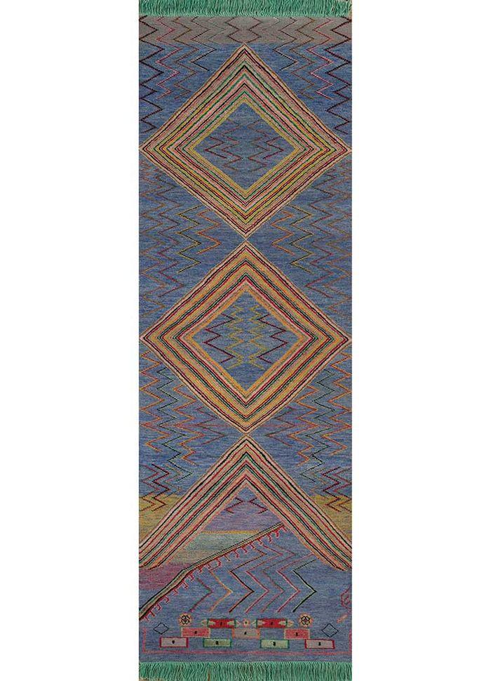 artisan originals pink and purple wool hand knotted Rug - HeadShot