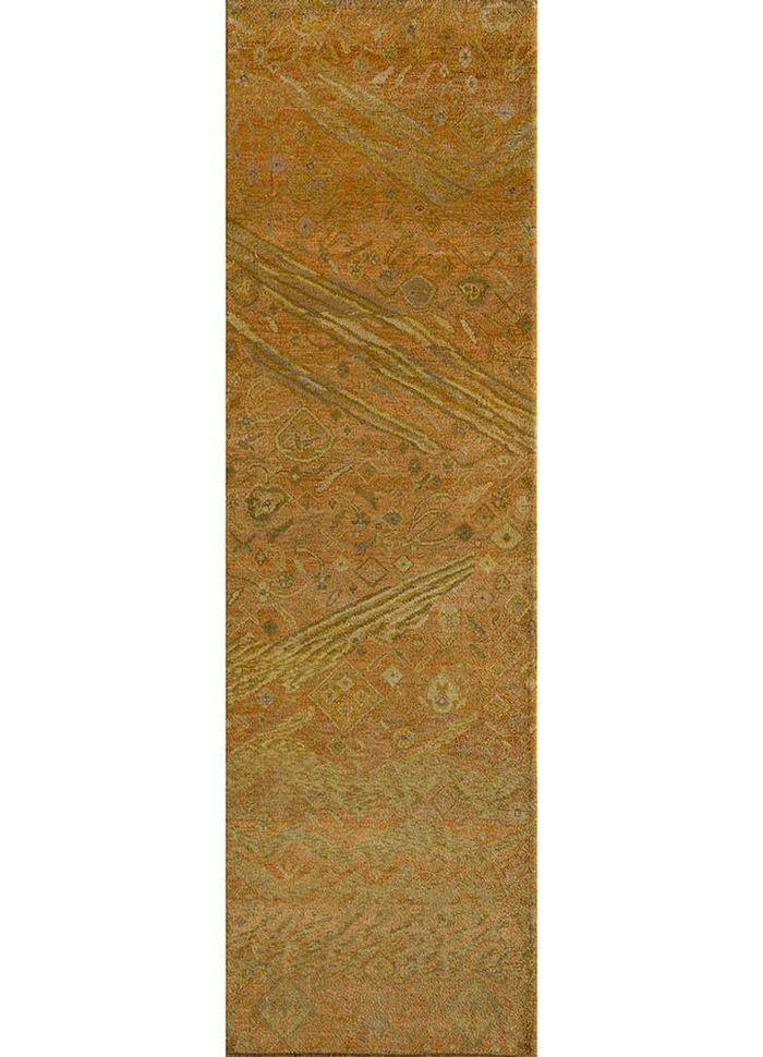 artisan originals gold wool hand knotted Rug - HeadShot