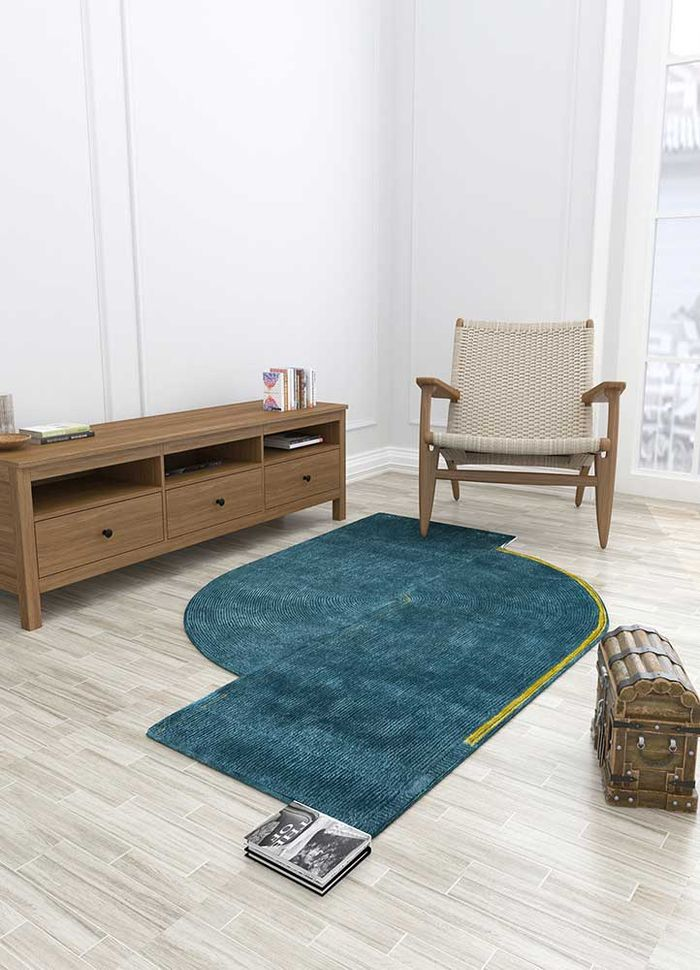 come around blue wool and viscose hand tufted Rug - Loom