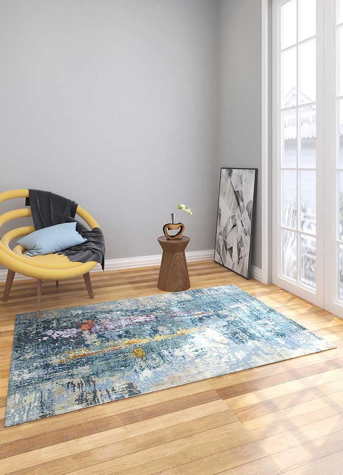 project error by kavi blue wool and bamboo silk hand knotted Rug - Loom