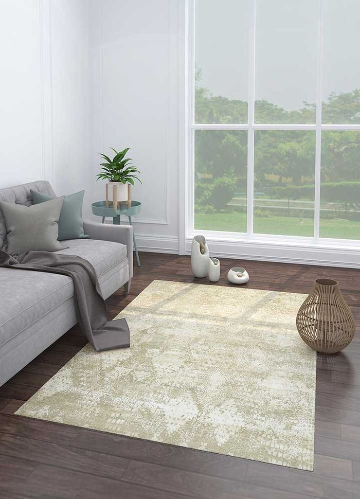 project error by kavi ivory wool and bamboo silk hand knotted Rug - Loom