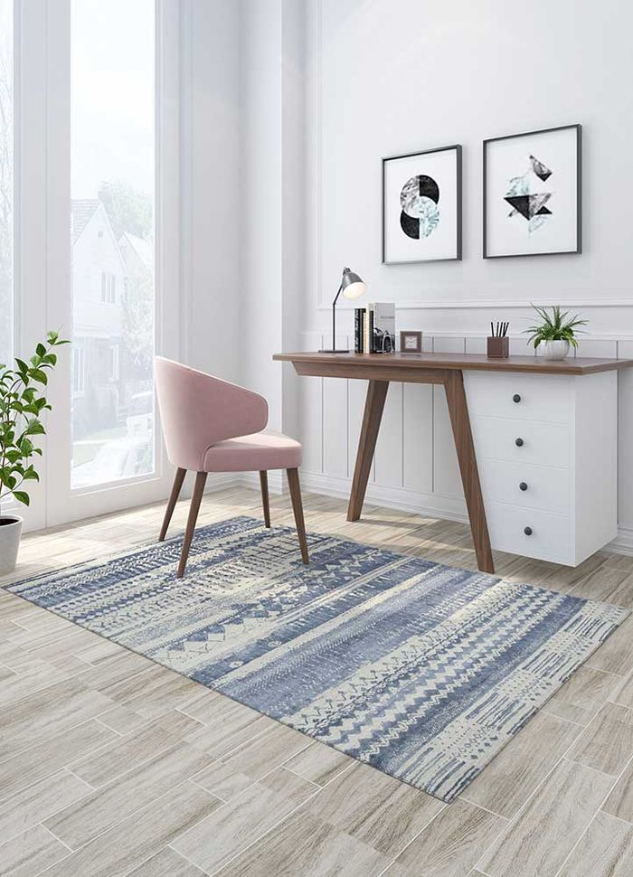 project error by kavi grey and black wool and bamboo silk hand knotted Rug - Loom