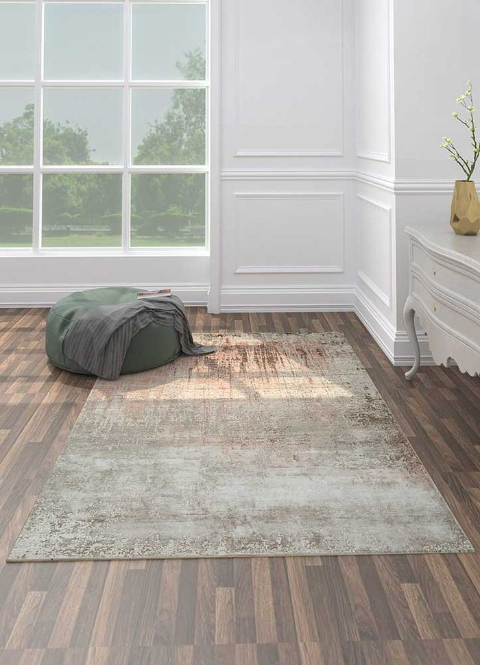 tattvam ivory wool and bamboo silk hand knotted Rug - Loom