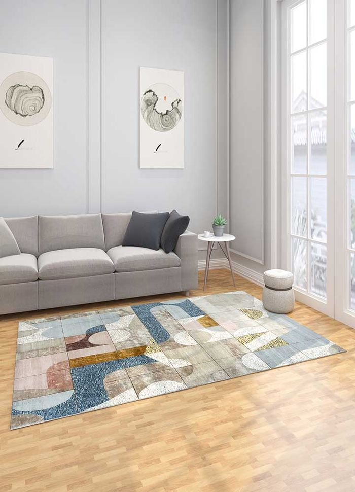 aakar by kavi beige and brown wool and bamboo silk hand knotted Rug - Loom
