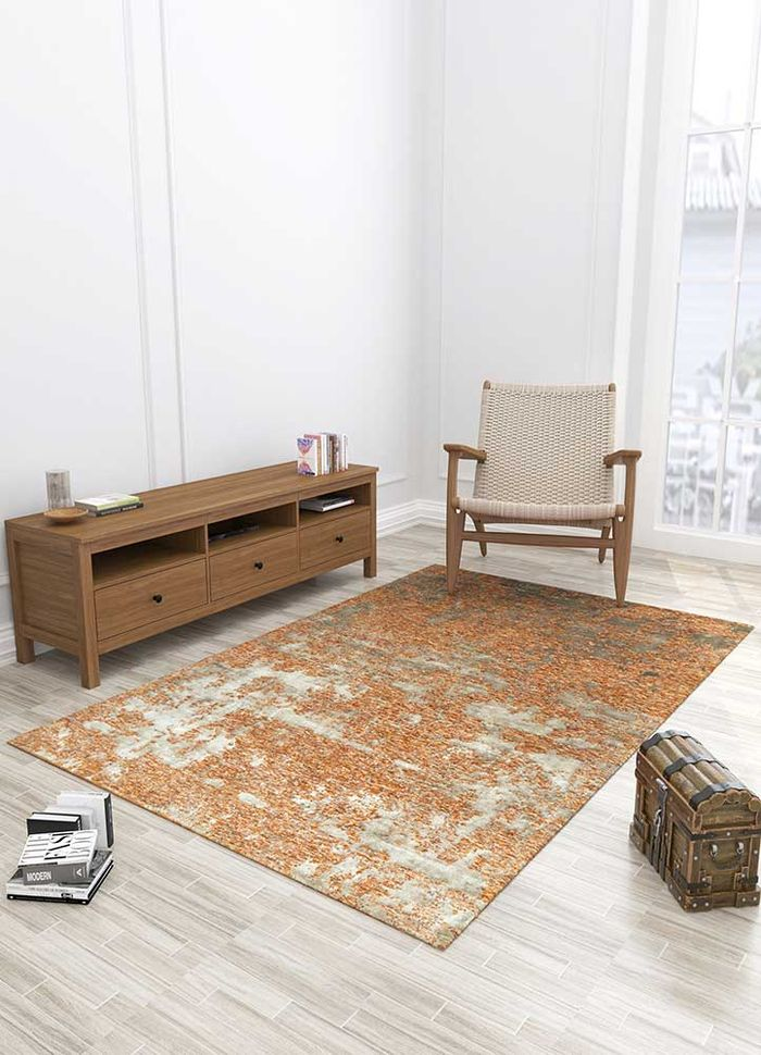 project error by kavi red and orange wool and bamboo silk hand knotted Rug - Loom