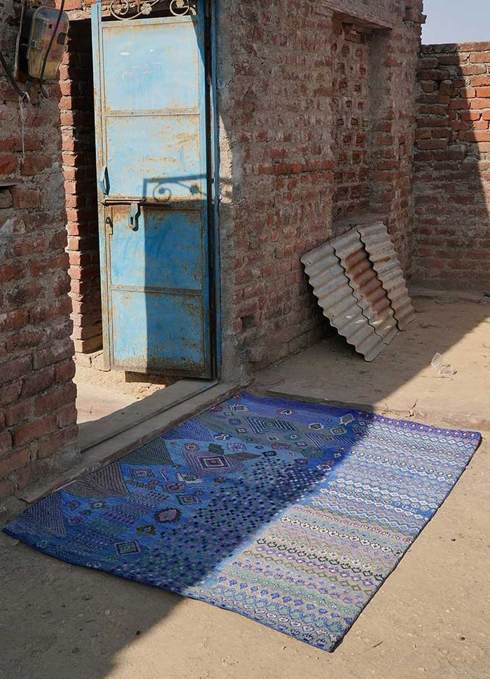 artisan originals blue wool and bamboo silk hand knotted Rug - Loom