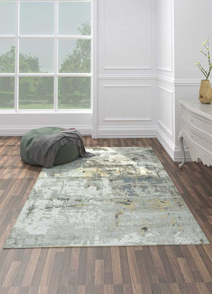 uvenuti ivory wool and bamboo silk hand knotted Rug - Loom