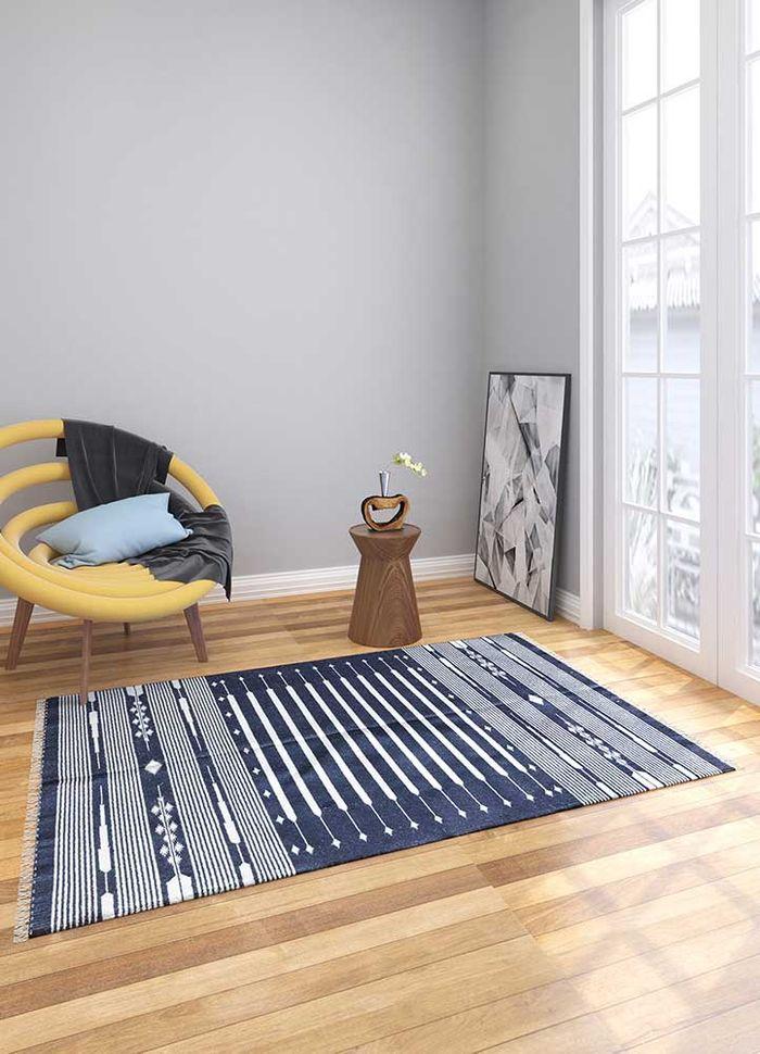 bedouin blue cotton flat weaves Rug - Loom