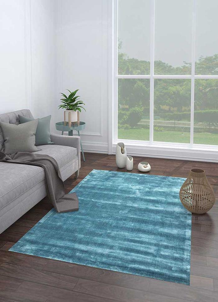 yasmin blue viscose hand loom Rug - Loom