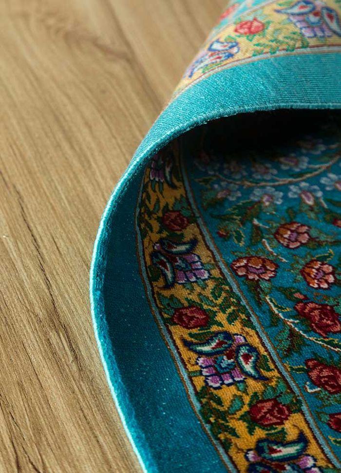 iranian blue silk hand knotted Rug - Loom