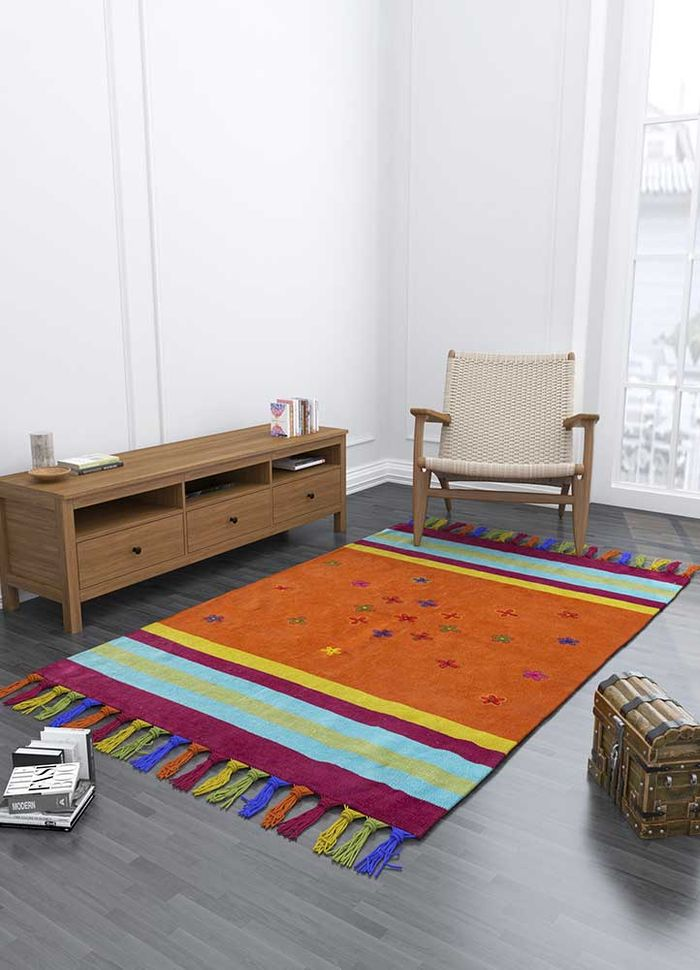 bedouin red and orange others flat weaves Rug - Loom