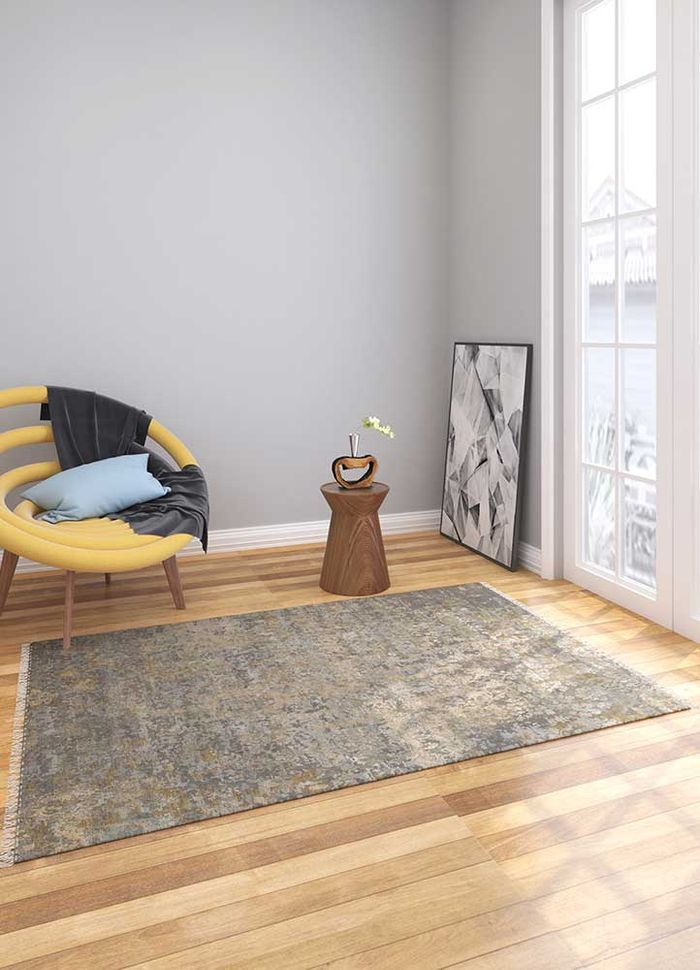 blithe grey and black wool and silk hand knotted Rug - Loom