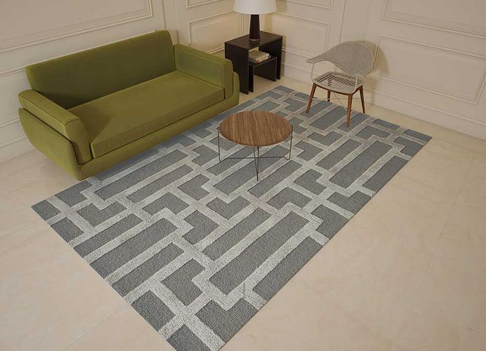 contour grey and black wool and viscose hand tufted Rug - Loom