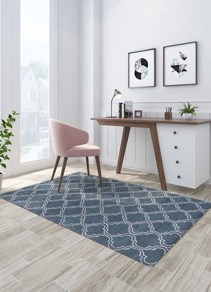 contour blue wool and viscose hand tufted Rug - Loom