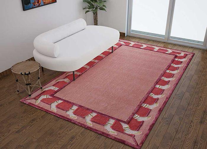 jaipur wunderkammer red and orange wool and viscose hand tufted Rug - Loom