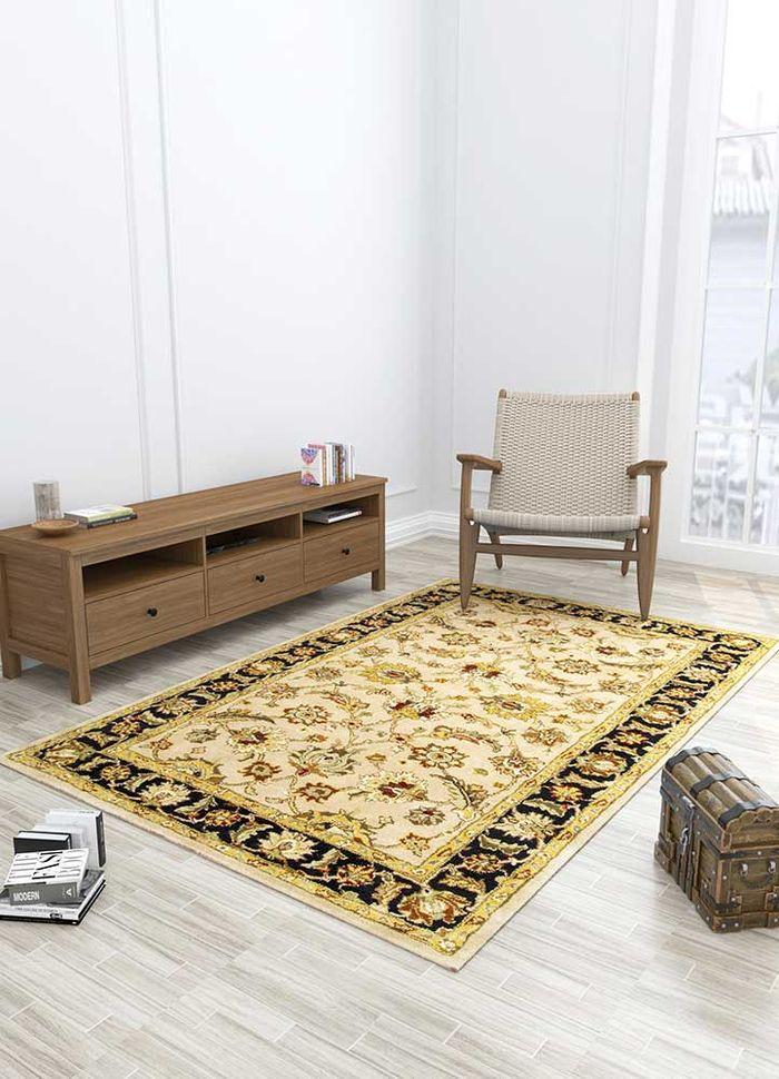 mythos beige and brown wool hand tufted Rug - Loom