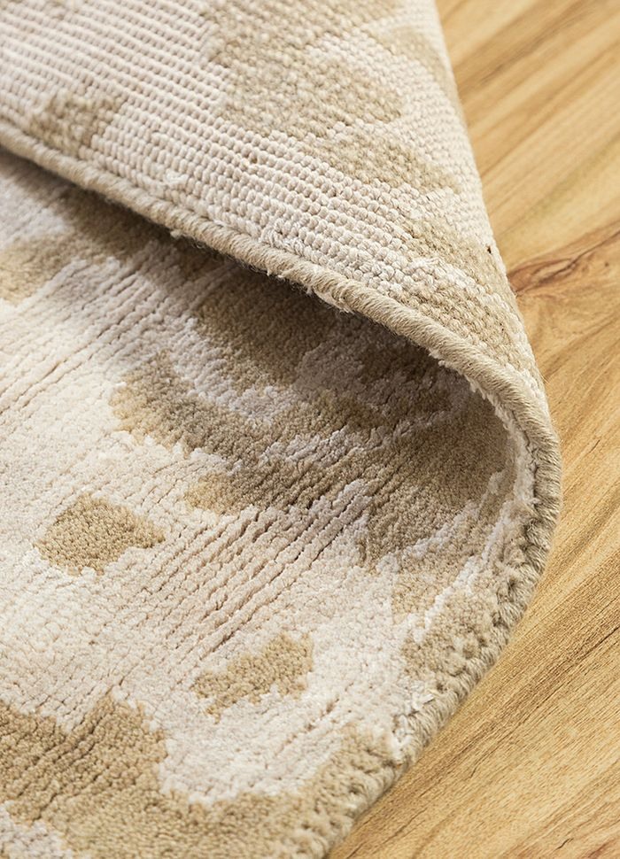 pansy beige and brown wool and bamboo silk hand knotted Rug - Loom