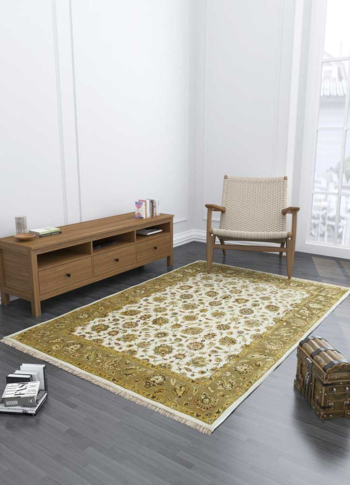 aurora ivory wool and silk hand knotted Rug - Loom