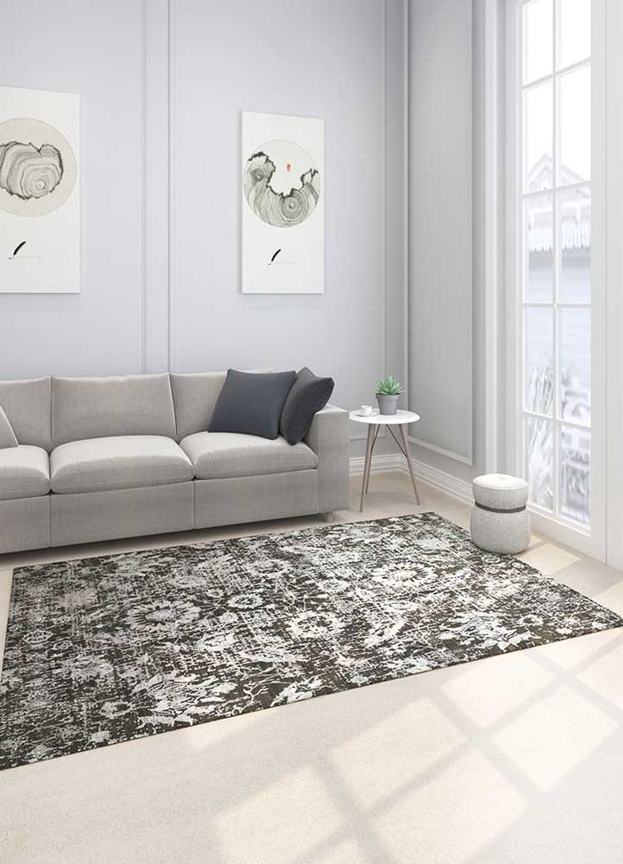 chaos theory by kavi grey and black wool and bamboo silk hand knotted Rug - Loom