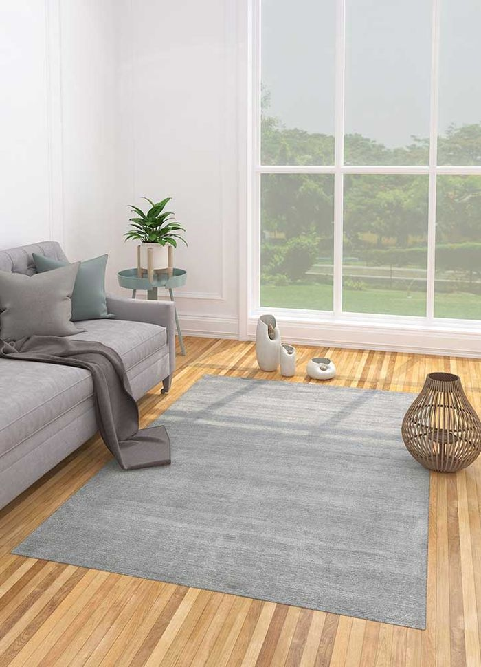 konstrukt grey and black wool and viscose hand loom Rug - Loom