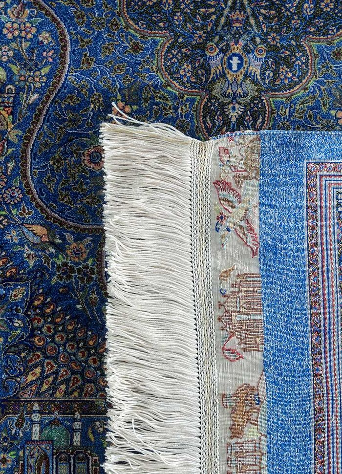 iranian blue silk hand knotted Rug - Perspective