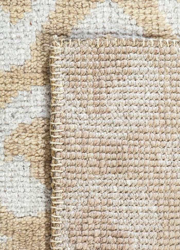 eden beige and brown wool and viscose hand knotted Rug - Perspective