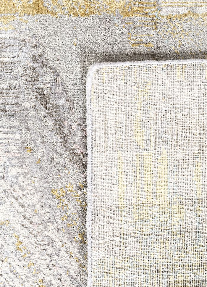 unstring by kavi grey and black wool and bamboo silk hand knotted Rug - Perspective