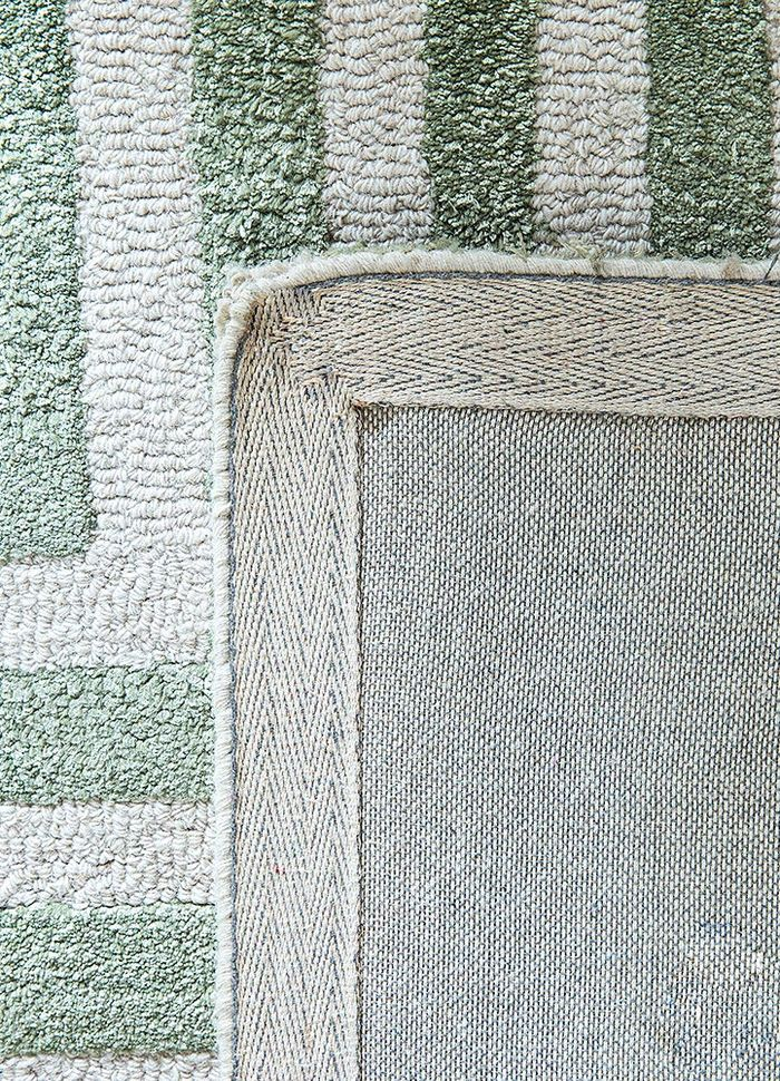 contour green wool and viscose hand tufted Rug - Perspective