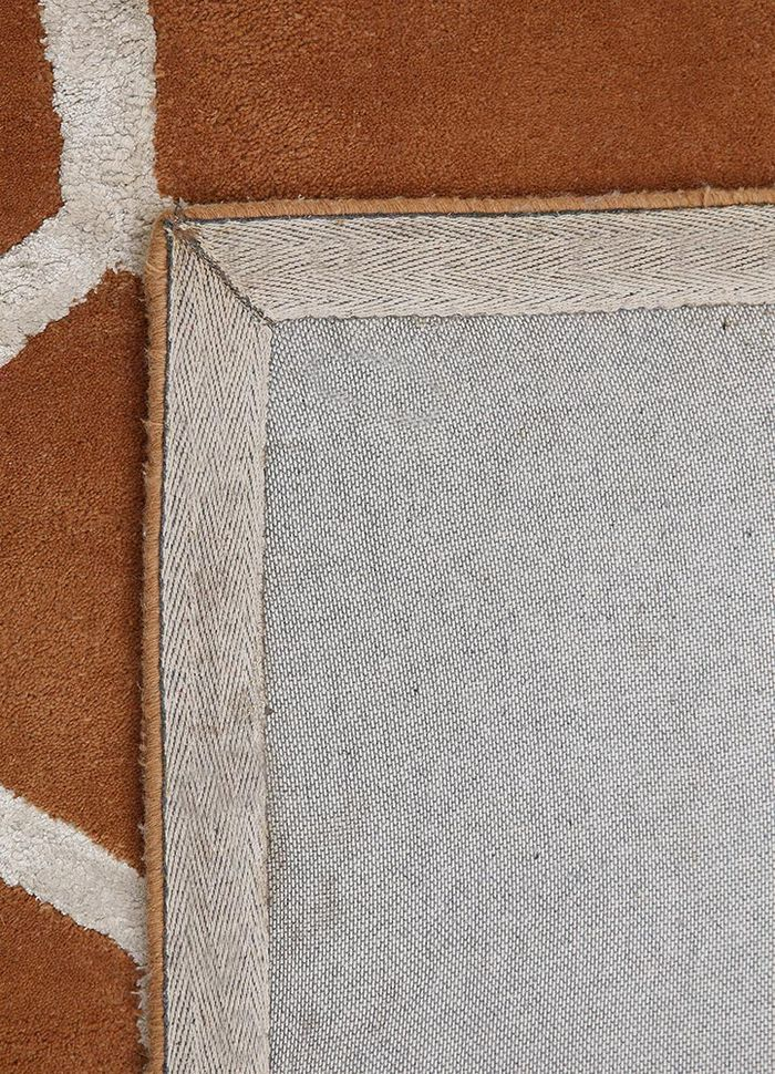 contour red and orange wool and viscose hand tufted Rug - Perspective