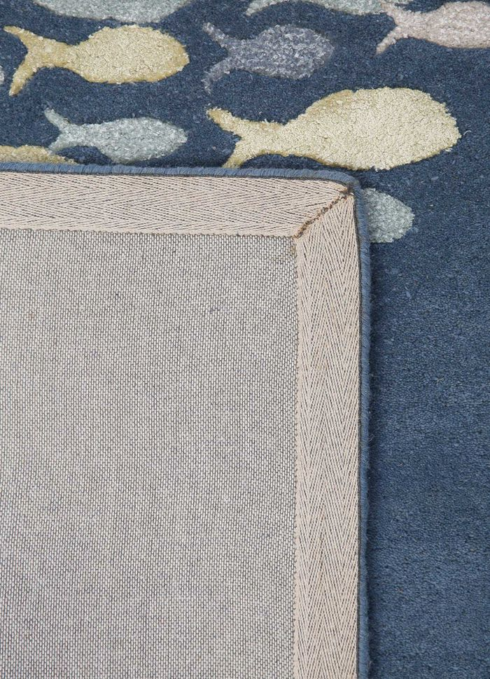 confetti blue wool and viscose hand tufted Rug - Perspective