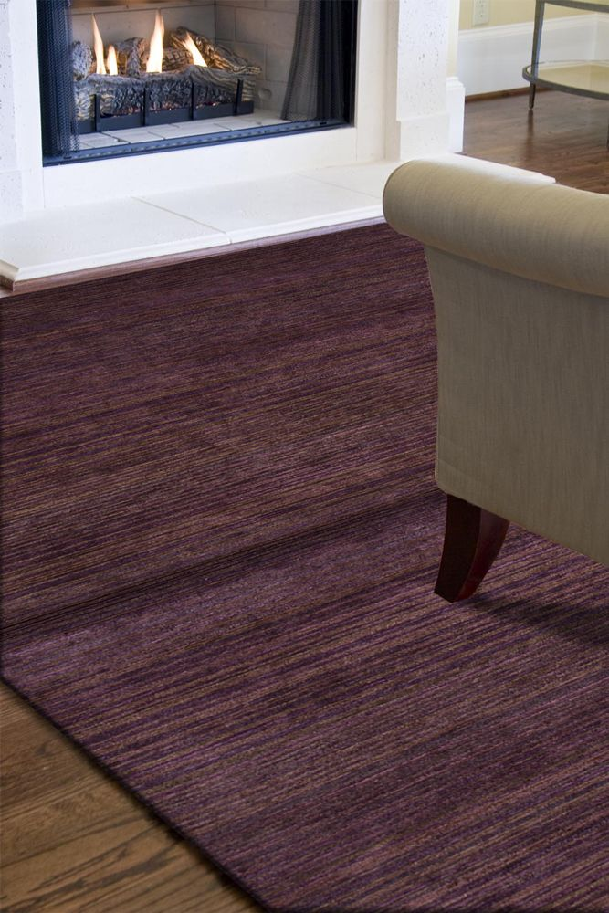 legion pink and purple wool and viscose hand knotted Rug - RoomScene