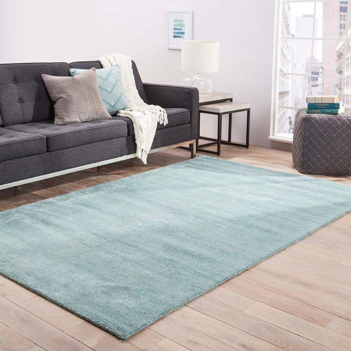 konstrukt blue wool and viscose hand loom Rug - RoomScene