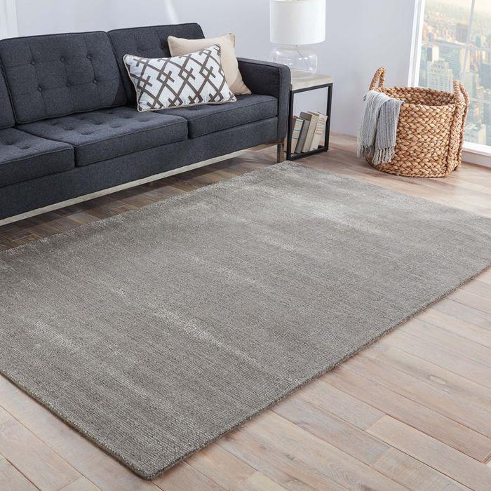 konstrukt grey and black wool and viscose hand loom Rug - RoomScene