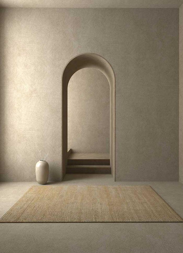 basis beige and brown wool and viscose hand loom Rug - RoomScene