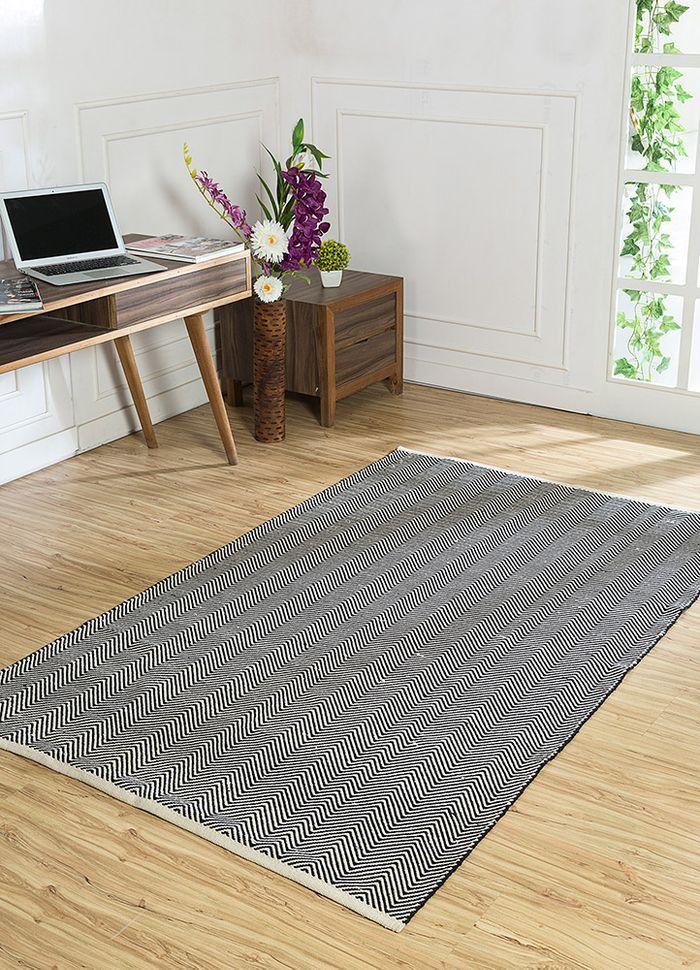 aqua grey and black cotton flat weaves Rug - RoomScene
