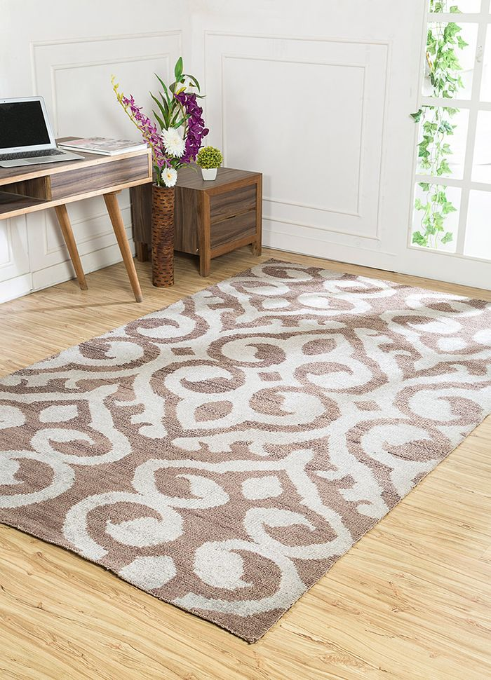 eden beige and brown wool and viscose hand knotted Rug - RoomScene