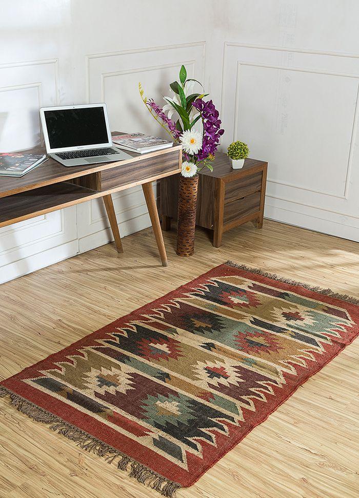bedouin red and orange jute and hemp flat weaves Rug - RoomScene