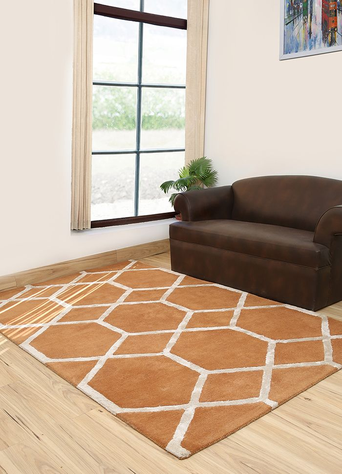 contour red and orange wool and viscose hand tufted Rug - RoomScene